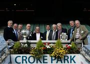 15 October 2015; Attendees, from left, Johnny Flaherty, Seamus Darby, Martin Hanamy, Sean Lowry, Kieran Rigney, Michael Duignan, Brendan Clarke, Willie Bryan, Hubert Rigney and Vincent Henry were in Croke Park today to announce Offaly GAA's plans to develop a new centre of excellence.  The Faithful Fields project will cost €2.25 million to develop in total with Offaly GAA aiming to raise €750,000 before November 30th. Croke Park, Dublin. Picture credit: Sam Barnes / SPORTSFILE