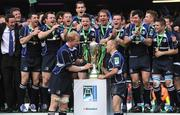 23 May 2009; Leinster captain Leo Cullen and team-mate Chris Whitaker prepare to lift the Heineken Cup after victory over Leicester Tigers. Heineken Cup Final, Leinster v Leicester Tigers, Murrayfield Stadium, Edinburgh, Scotland. Picture credit: Brendan Moran / SPORTSFILE