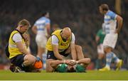18 October 2015; Tommy Bowe, Ireland, is attended to by Ireland team doctor Dr Eanna Falvey, right, and Ireland physiotherapist James Allen before leaving the field with an injury. 2015 Rugby World Cup Quarter-Final, Ireland v Argentina. Millennium Stadium, Cardiff, Wales. Picture credit: Matt Browne / SPORTSFILE