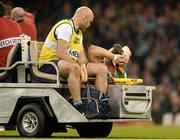 18 October 2015; Tommy Bowe, Ireland, with Ireland team doctor Dr Eanna Falvey, leaving the field with an injury. 2015 Rugby World Cup Quarter-Final, Ireland v Argentina. Millennium Stadium, Cardiff, Wales.  Picture credit: Brendan Moran / SPORTSFILE