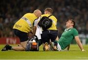 18 October 2015; Tommy Bowe, Ireland, is attended to by Ireland team doctor Dr Eanna Falvey, left, and Ireland physiotherapist James Allen before leaving the field with an injury. 2015 Rugby World Cup Quarter-Final, Ireland v Argentina. Millennium Stadium, Cardiff, Wales.  Picture credit: Brendan Moran / SPORTSFILE