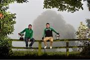 20 October 2015;  Pictured in attendance at the Leinster GAA Club Championship launch 2015 were Robert Barron, left, St. James GAA Club, Co. Wexford, and Michael Quinn, Emmet Og GAA Club, Co. Longford. Barretstown Castle, Ballymore Eustace, Co. Kildare. Picture credit: David Maher / SPORTSFILE