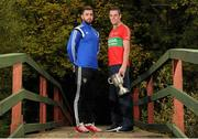 20 October 2015; Paul Sharry, St. Loman's, and Damien Power, Rathnew, pictured in attendance at the Leinster GAA Club Championship launch 2015. Barretstown Castle, Ballymore Eustace, Co. Kildare. Picture credit: Seb Daly / SPORTSFILE