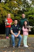 20 October 2015; Pictured in attendance at the Leinster GAA Club Championship launch 2015 were Paudie Kehoe, left, St. Mullins GAA Club, Co. Carlow, and Paddy Dowdall, Clonkill GAA Club, Co. Westmeath, with Aoibhín Delaney, left, age 7, from Sallins, Co. Kildare and Kate Byrne, age 7, from Lucan, Co. Dublin. Barretstown Castle, Ballymore Eustace, Co. Kildare.. Picture credit: David Maher / SPORTSFILE