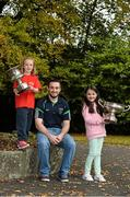 20 October 2015; Pictured in attendance at the Leinster GAA Club Championship launch 2015 were Paudie Kehoe,  St. Mullins GAA Club, Co. Carlow, with Aoibhín Delaney, left, age 7, from Sallins, Co. Kildare, and Kate Byrne, age 7, from Lucan, Co. Dublin. Barretstown Castle, Ballymore Eustace, Co. Kildare. Picture credit: David Maher / SPORTSFILE