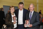20 October 2015; Michael and Anne Meehan, from Caltra, Co. Galway, with former Galway and Mayo football manager John O'Mahony, T.D at the launch of his autobiography 'O'Mahony - Keeping the Faith'. St Nathy's College, Chapel Street, Ballaghadereen, Co. Roscommon. Picture credit: Paul Mohan / SPORTSFILE