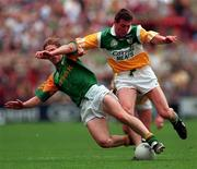 16/8/1997 Offaly v Meath Leinster Senior Football Championship Final Croke Park Dublin Action Features   Meath's Trevor Giles tackled by Offaly's Ciaran McManus Picture Credit Ray McManus/SPOTRSFILE