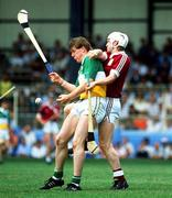 August 1990. Daithi Regan Offaly in action against Tony Keady Galway, All Ireland hurling Championship Semi Final, Croke Park. Picture Credit: Ray McManus/SPORTSFILE.