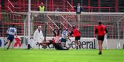 National Football League Quarter-Final, Down v Monaghan, Croke Park. 5/4/98. Action features Monaghan's Stephen McGinnity scores what proves to be the winning goal against Down. Photograph © Ray McManus SPORTSFILE.