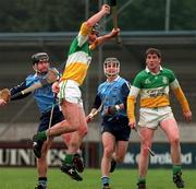 National Hurling League, Dublin v Offaly, Parnell Park, 19/4/98. Offaly's Hubert Rigney fields the ball from Dublin's James Brennan. Photograph ©ÊDamien Eagers SPORTSFILE.