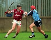 National Hurling League Division 1A, Dublin v Galway, Parnell Park. 8/3/98. Galway's Joe Rabbitte, left, attempts to hold of the challenge of Dublin's Sean Power. Photograph © Brendan Moran SPORTSFILE.