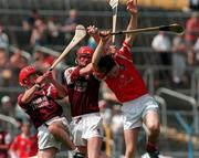 17/9/1998. From left to right Joe Hession, Michael J Quinn Galway and Alan Hayes Cork , Vocatioal Schools Hurling Final, Semple Stadium, Thurles. Credit: Ray McManus/SPORTSFILE.