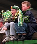 National Hurling League, Parnell Park, Dublin V Offaly 19/4/98. Two young Offaly fans cheer on their team. Photograph Damien Eagers SPORTSFILE