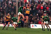 National Hurling League, Limerick v Clare, Gaelic Grounds. 22/3/98. Limerick's Shane O'Neill and Clare's Colin Lynch go up for a high ball watched by, left, Liam Doyle (Clare), Mike Galligan (Limerick) . Photograph © Matt Browne SPORTSFILE.