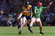 16 June 1996; Clare's Frank Lohan in a tussle for possession with Limerick's TJ Ryan. Limerick v Clare, Munster Hurling Championship, Gaelic Grounds, Limerick. Picture credit; David Maher/SPORTSFILE.