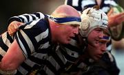 22 January 2000; Blackrock players, from left, Gary Halpin, Shane Byrne and Ian McLoughlin prepare to scrum during the AIB All-Ireland League Division 2 match between Blackrock College and Belfast Harlequins at Stradbrook in Dublin. Photo by Damien Eagers/Sportsfile