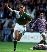 September 1992; Rep of Ireland's Kevin Sheedy celebrates scoring against Latvia. Republic of Ireland v Latvia, Lansdowne Road, Dublin. Soccer. Picture credit; Ray McManus/SPORTSFILE.