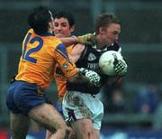 29 October 2000; Lorcan Colleran, Galway, in action against John Hanley, Roscommon. Roscommon v Galway, National Football League, Hyde Park, Roscommon. Picture credit; Damien Eagers/SPORTSFILE