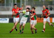 25 October 2015; Craig Rogers, Portlaoise, in action against Jason Kane, left, and Tomas Kenny, Palatine. AIB Leinster GAA Senior Club Football Championship, Palatine v Portlaoise. Netwatch Dr. Cullen Park, Carlow. Picture credit: Paul Mohan / SPORTSFILE