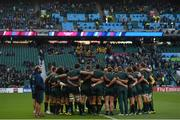 25 October 2015; The Australia team huddle ahead of the game. 2015 Rugby World Cup, Semi-Final, Argentina v Australia. Twickenham Stadium, Twickenham, London, England. Picture credit: Ramsey Cardy / SPORTSFILE