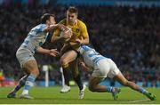 25 October 2015; Drew Mitchell, Australia, is tackled by Nicolas Sanchez, left, and Martin Landajo, Argentina. 2015 Rugby World Cup, Semi-Final, Argentina v Australia. Twickenham Stadium, Twickenham, London, England. Picture credit: Ramsey Cardy / SPORTSFILE