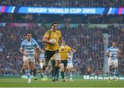 25 October 2015; Rob Simmons, Australia, on his way to scoring his side's first try of the game. 2015 Rugby World Cup, Semi-Final, Argentina v Australia. Twickenham Stadium, Twickenham, London, England. Picture credit: Ramsey Cardy / SPORTSFILE