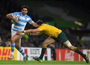 25 October 2015; Jeronimo de la Fuente, Argentina, in action against Adam Ashley-Cooper, Australia. 2015 Rugby World Cup, Semi-Final, Argentina v Australia. Twickenham Stadium, Twickenham, London, England. Picture credit: Ramsey Cardy / SPORTSFILE