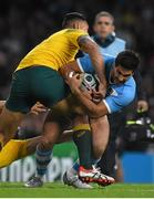 25 October 2015; Jeronimo de la Fuente, Argentina, in action against Adam Ashley-Cooper, left, and Israel Folau, Australia. 2015 Rugby World Cup, Semi-Final, Argentina v Australia. Twickenham Stadium, Twickenham, London, England. Picture credit: Ramsey Cardy / SPORTSFILE
