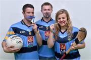28 October 2015; Dublin All-Ireland winner 2015 and player of the year nominee Jack McCaffrey, centre, Ryan Wylie, Monaghan and GAA football Young player of year nominee, and Grace Walsh, Kilkenny camogie star, at the launch of Movember in UCD, Dublin. Picture credit: Matt Browne / SPORTSFILE