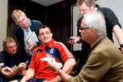 2 July 2009; Andrew Sheridan speaks with journalists Steve Bale, left, Mick Cleary, top left, Alex Lowe, right, and Peter Jackson, bottom right, during a British & Irish Lions Press Conference ahead of their 3rd test against South Africa on Saturday. Sandton Sun Hotel, Johannesburg, South Africa. Picture credit: Andrew Fosker / SPORTSFILE