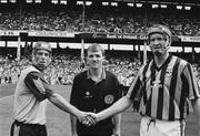 21 July 1991; Referee Dickie Murphy, Wexford, with Dublin captain John Twomey, left, and Kilkenny captain Christy Heffernan, Kilkenny. Leinster Senior Hurling Championship Final, Dublin v Kilkenny, Croke Park, Dublin. Picture credit; Connolly Collection / SPORTSFILE