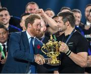 31 October 2015; Prince Harry presents the Webb Ellis Cup to New Zealand captain Richie McCaw. 2015 Rugby World Cup Final, New Zealand v Australia. Twickenham Stadium, Twickenham, London, England. Picture credit: Stephen McCarthy / SPORTSFILE