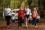 2 November 2015; Race walker Rob Heffernan, Ireland's longest serving Olympian, kick-starts his 'Road to Rio' training programme for his fifth Olympic Games with the backing of Nissan. Rob and his wife Marian, who is also his high performance coach, have a tradition of starting Day 1 of his Olympic Games training programme on the first Monday in November with a 10km training walk in Cork. Nissan are to supply Rob and Marian with a Nissan X-Trail as new brand ambassadors. Also pictured are their children Regan, aged 21 months,  Tara, aged 7 months, Meghan, age 12, and Cathal, age 10. Fota Island Resort Hotel, Cork. Picture credit: Stephen McCarthy / SPORTSFILE