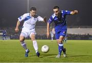 2 November 2015; Shane Tracy, Limerick FC, in action against Josh Mailey, Finn Harps. SSE Airtricity League Promotion / Relegation Play-off, First Leg, Limerick FC v Finn Harps. Marketsfield, Limerick Picture credit: Diarmuid Greene / SPORTSFILE