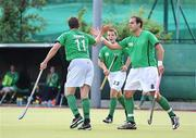 6 July 2009; John Jermyn, Ireland, is congratulated by team-mate Stephen Butler, right, after scoring his side's first goal. FIH Champions Challenge II, Ireland v Chile, National Hockey Stadium, UCD, Belfield, Dublin. Picture credit: Paul Mohan / SPORTSFILE