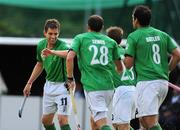 6 July 2009; John Jermyn, Ireland, left, celebrates with team-mates after scoring his side's first goal. FIH Champions Challenge II, Ireland v Chile, National Hockey Stadium, UCD, Belfield, Dublin. Picture credit: Paul Mohan / SPORTSFILE