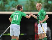 7 July 2009; Ireland's John Jermyn celebrates his side's first goal with team-mate Eugene Magee, right. FIH Champions Challenge II, National Hockey Stadium, UCD, Belfield, Dublin. Picture credit: Pat Murphy / SPORTSFILE