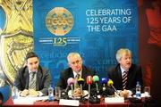8 July 2009; Ard Stiúrthóir Páraic Ó Dufaigh, right, speaking at a press conference when the GAA outlined their position on formal recognition of the GPA with Uachtarán Chumann Lúthchleas Gael Criostóir Ó Cuana, centre, and Feargal Mac Giolla, Bainisteoir Leasa na nImreoiri / Feidhmiúcháin. Croke Park, Dublin. Picture credit: Stephen McCarthy / SPORTSFILE *** Local Caption ***