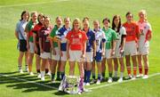 6 July 2009; Senior captains, from left, Denise Masterson, Dublin, Fiona McHale, Mayo, Eliza Downey, Down, Miriam O'Keeffe, representing Galway, Mags O'Donoghue, Kerry, Emma McEvoy, Laois, Mary O'Connor, Cork, Gillian O'Brien, Tipperary, Sharon Courtney, representing Monaghan, Teresa Mylott, Leitrim, Aisling Holton, Kildare, Caroline O'Halon, Armagh, and Kelly Hackett, representing Tyrone, at the launch of the TG4 Ladies Football All-Ireland Championships. Croke Park, Dublin. Picture credit: Pat Murphy / SPORTSFILE