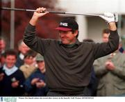 Winner Des Smyth salutes the crowd after victory in the Smurfit. Golf. Picture; SPORTSFILE