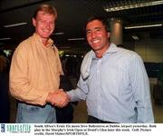 South Africa's Ernie Els meets Seve Ballesteros at Dublin Airport yesterday. Both play in the Murphy's Irish Open at Druid's Glen later this week.  Golf. Picture credit; David Maher/SPORTSFILE.