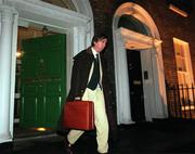 27 November 2000; John Delaney, Waterford United and National Council member leaves the FAI Bord of Management meeting at the FAI Headquarters, Merrion Squre, Dublin. Soccer. Picture credit; David Maher/SPORTSFILE