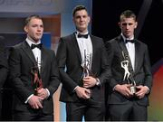 6 November 2015; The All-Star full-forward line, left to right, Ger Aylward, Kilkenny, Séamus Callanan, Tipperary, and Maurice Shanahan, Waterford, with their GAA GPA All-Star Awards at the GAA GPA All-Star Awards 2015 Sponsored by Opel. Convention Centre, Dublin. Picture credit: Brendan Moran / SPORTSFILE