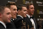 6 November 2015; Kilkenny hurlers, from left, Ger Aylward, Cillian Buckley, TJ Reid and Michael Fennelly in attendance at the GAA GPA All-Star Awards 2015 Sponsored by Opel. Convention Centre, Dublin. Picture credit: Brendan Moran / SPORTSFILE