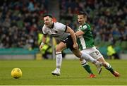 8 November 2015; Richie Towell, Dundalk FC, in action against Liam Miller, Cork City FC. Irish Daily Mail Cup Final, Dundalk FC v Cork City FC. Aviva Stadium, Lansdowne Road, Dublin. Picture credit: David Maher / SPORTSFILE