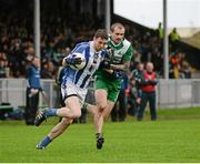 8 November 2015; Aran Waters, Ballyboden St. Enda's, in action against Paddy Keenan, St Patrick's. AIB Leinster GAA Senior Club Football Championship Quarter-Final, St Patrick's v Ballyboden St. Enda's. County Grounds, Drogheda, Co. Louth. Picture credit: Dean Cullen / SPORTSFILE