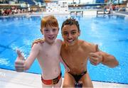 14 November 2015; Seven year old Ruben Forsythe, from Antrim Town, and who has the condition Cystic Fibrosis, after diving with Tom Daley, Dive London. Irish Open Diving Championships Day 2. National Aquatics Centre, Blanchardstown, Dublin. Picture credit: Paul Mohan / SPORTSFILE