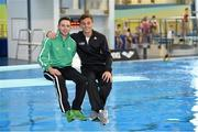 14 November 2015; Divers Oliver Dingley, Shamrock Diving Club, left, and Tom Daley, Dive London. Irish Open Diving Championships Day 2. National Aquatics Centre, Blanchardstown, Dublin. Picture credit: Paul Mohan / SPORTSFILE