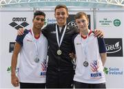 14 November 2015; Senior Men's Platform medalists and Dive London club members, from left, 2nd place Kyle Kothari, 1st place Tom Daley, and 3rd place Noah Williams. Irish Open Diving Championships Day 2. National Aquatics Centre, Blanchardstown, Dublin. Picture credit: Paul Mohan / SPORTSFILE