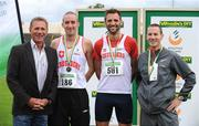 2 August 2009; The Men's 800m Medallists with former World 5000m Champion Eamonn Coghlan, from 2nd left, bronze medallist Alan O'Brien, Crusaders AC, gold medallist Thomas Chamney, Crusaders AC, and silver medallist David Campbell, St Coca's AC. Woodie's DIY / AAI National Senior Track & Field Championships. Morton Stadium, Santry, Dublin. Picture credit: Brendan Moran / SPORTSFILE